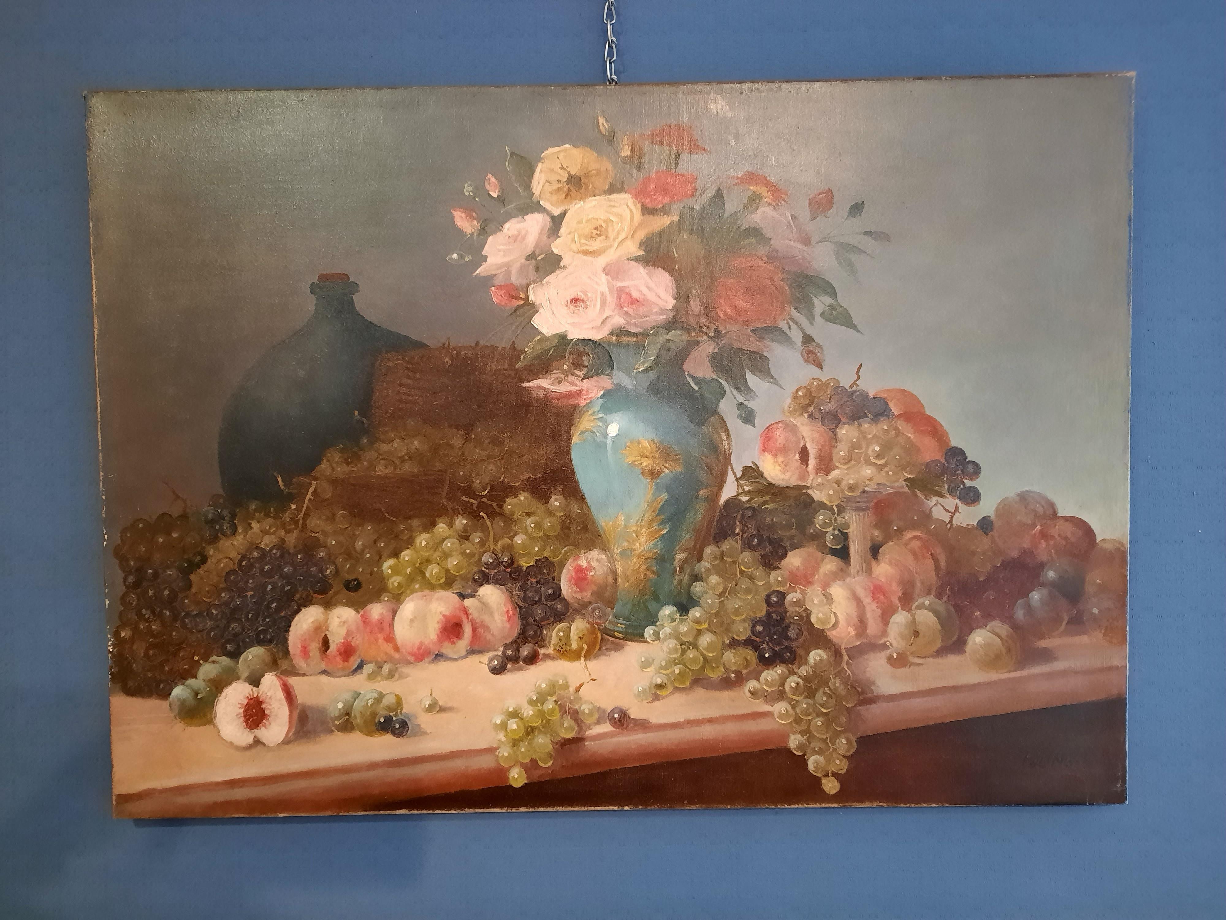 Tableau huile sur toile représentant une nature morte.