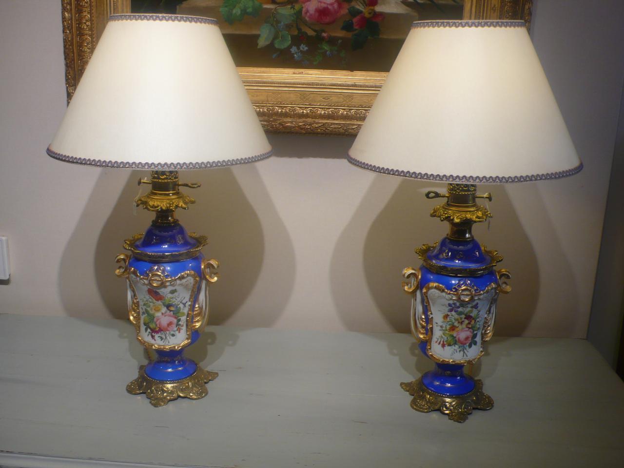 Paire de lampes en porcelaine d'époque Napoléon III