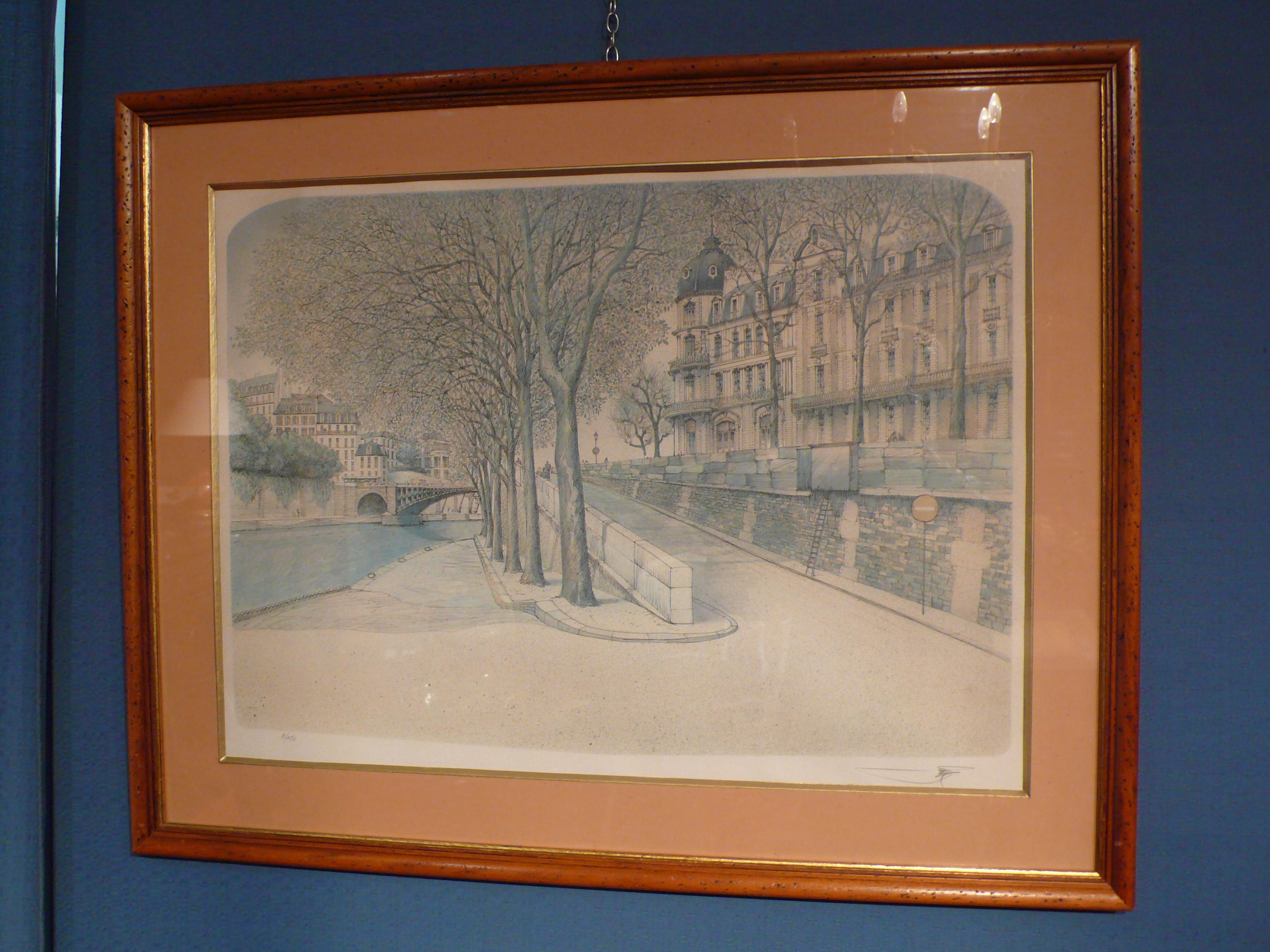 Gravure Quai de Seine à Paris