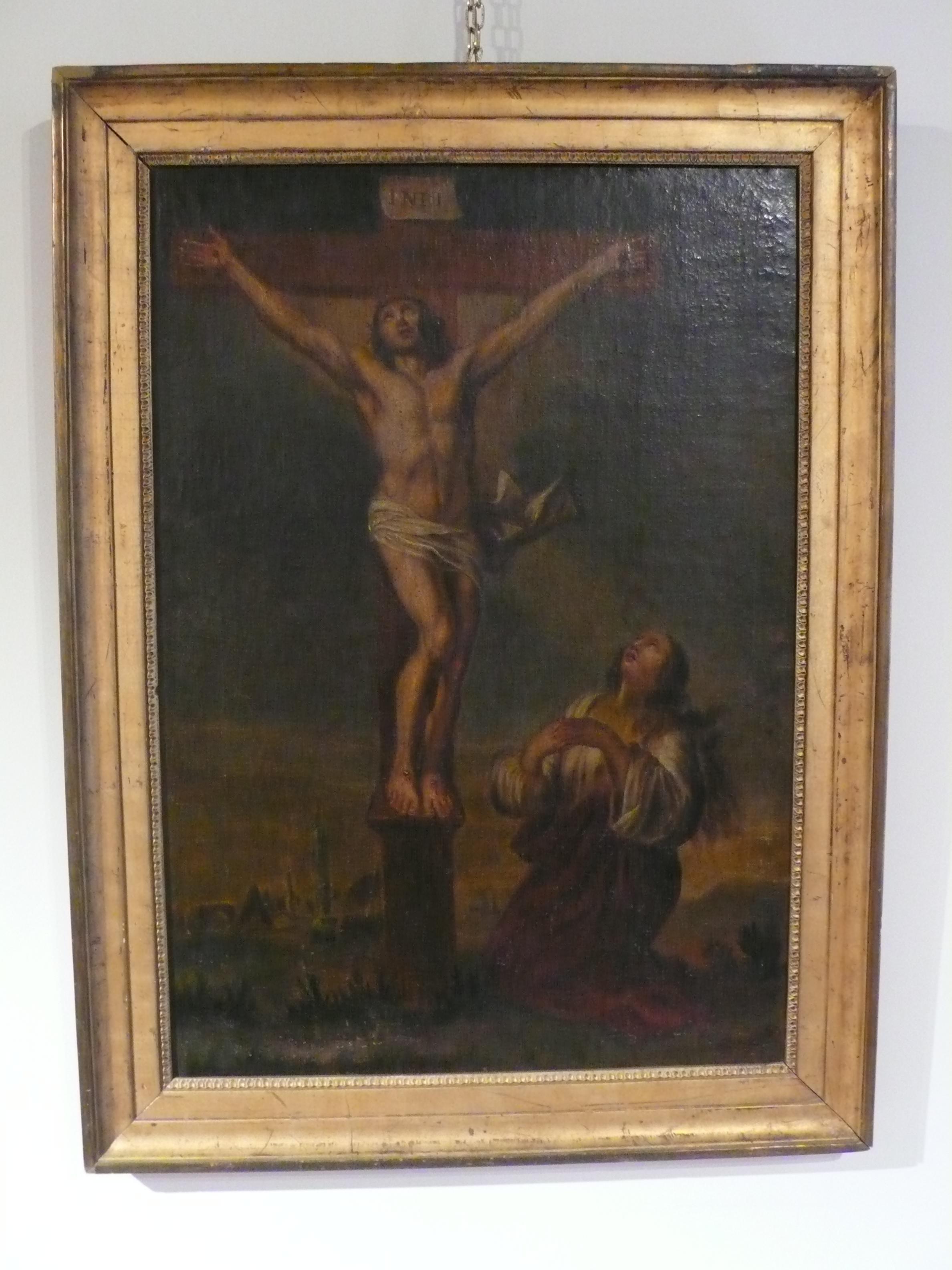 Crucifixion, peinture sur toile d'époque XVIIIème siècle.