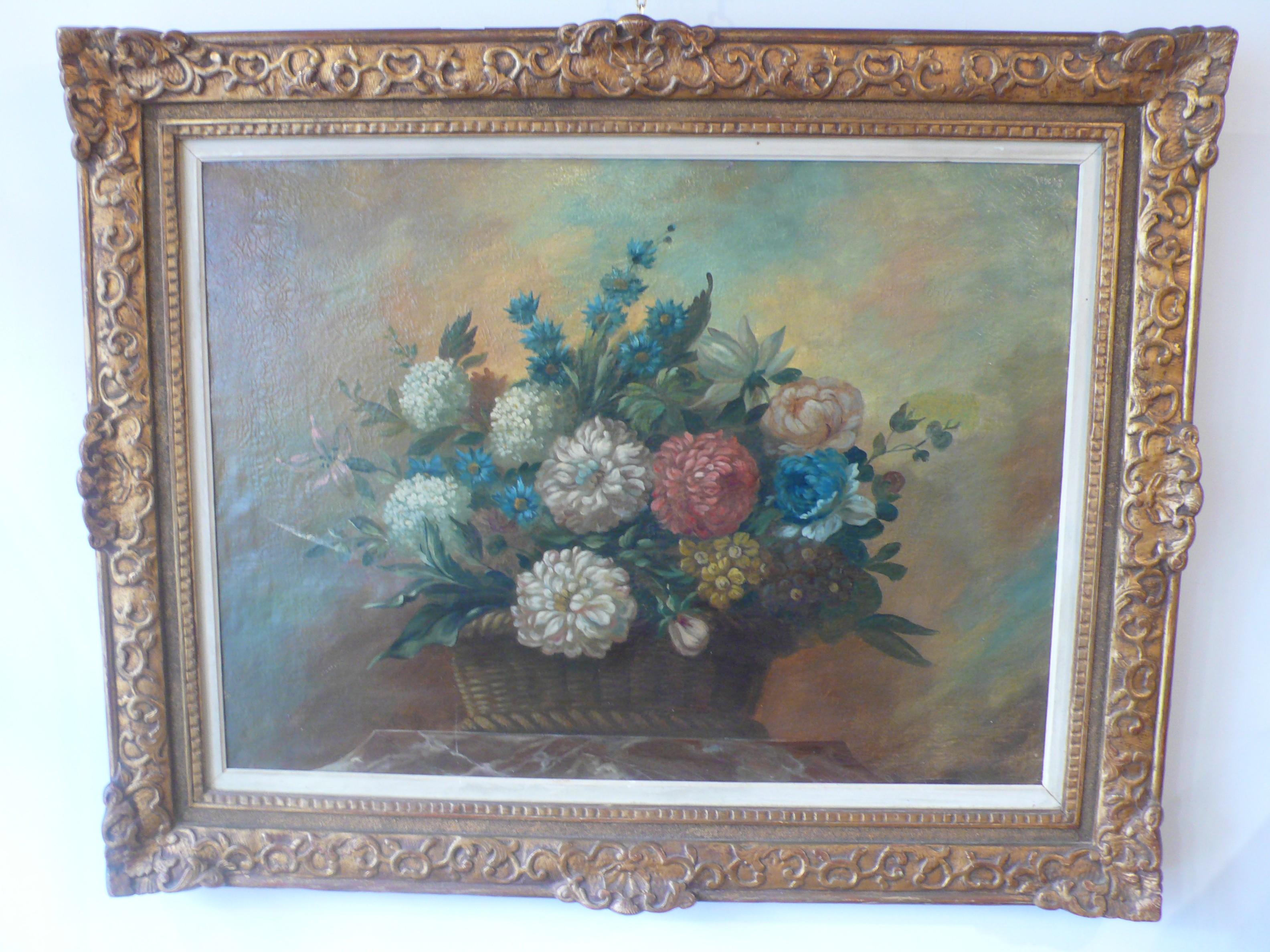 Tableau représentant des fleurs d'époque XIXème siècle.